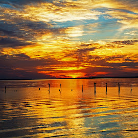 Fire Bay by Wendy  Walters - Landscapes Waterscapes ( mississippi gulf coast, gulf of mexico, bay st. louis, mississippi, bay of st. louis )