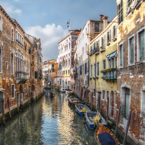 The streets of Venice                   by Michael Rupp - City,  Street & Park  Historic Districts ( water, colors, boats, venice, italy )