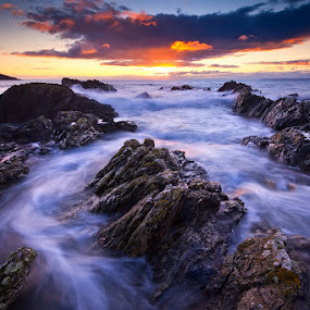 Spirited Seas by Paul Morgan - Landscapes Waterscapes (  rocks,  coast,  waves,  whitsand bay, polhawn,  sunset,  cornwall,  beach,  sea,  seascape )
