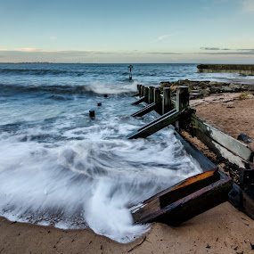 Sea defence  by John Haswell - Landscapes Waterscapes ( water, groyne, groynes, pier, sea, long exposure, seascape,  )