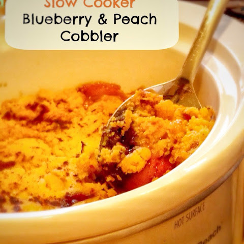 Slow Cooker Cake Mix Blueberry & Peach Cobbler