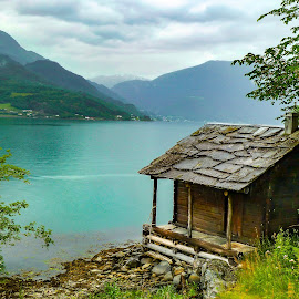 Antique Norwegian Fjord Cabin by Norma Brandsberg - Buildings & Architecture Decaying & Abandoned ( cabin, photograph, mountain, www.elegantfinephotography.com, slate, landscape, fjord, norway, tree, report, cloudy, trip, fjorden, melt, water, picturesque, waterside, horizon, treed, heavy, scenic, mountainside, photo, dusk, roof, foggy, vacation, norwegian, brandsberg, fog, vista, blue-green, scene, norma, glacial, view, day, tour,  )