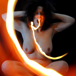 Flaming Curves by DJ Cockburn - Nudes & Boudoir Artistic Nude ( lotus, art nude, sitting, home shoot, off-camera flash, woman, dragon, cross-legged, fire, portrait, flame )
