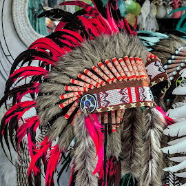 Native Indian headgear  by Peter Schoeman - Artistic Objects Clothing & Accessories ( brave, old, apache, chieftain, feather, artwork, hat, ancient, indigenous, head, chief, cherokee, isolated, weari, symbol, national, art, white, tribal, native american, warrior, native, low, culture, west, senior, headgear, graphic, america, clothing, retro, circle, usa, american, leader, tradition, man, abstract, ethnic, decoration, tribe, male, star, indian, traditional, history, bead, pattern, costume, design )