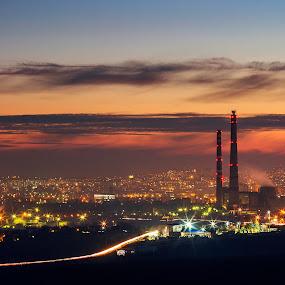Chisinau by Lilian Iatco - Landscapes Sunsets & Sunrises ( lights, cold, autumn, sunset, city,  )