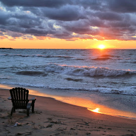Wind Blew The Sun Down 13 by Terry Saxby - Landscapes Sunsets & Sunrises ( water, canada, terry, huron, sunset, goderich, ontario, lake, saxby, nancy )
