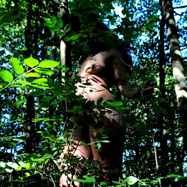 Lady of the Saplings by DJ Cockburn - Nudes & Boudoir Artistic Nude ( forest, south asian, woman, art nude, woodland, natural light, tree, outdoor, dark hair, standing, brunette, anonymous, model, wood, anonymised, indian )