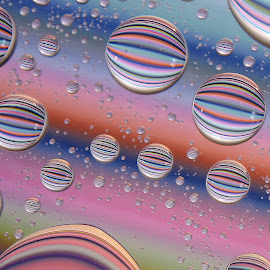 Colourama II by Pamela Beale - Abstract Water Drops & Splashes ( water, orange, macro, red, blue, liquid art, drops, pink, lines, yellow, stripes, colours )