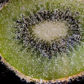 Kiwi by Dace Spalviņa - Food & Drink Fruits & Vegetables ( water, fruit, waterdrop, fruite splash photography, drop, kiwi, fruits, drops, fruits and vegetables, fruity, kiwifruit, droplets )