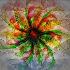 Hyperflower by Nancy Bowen - Illustration Flowers & Nature ( red, sectioned, abstract art\, green, flower )