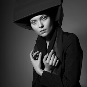 Mea Culpa by Alex Tsarfin - People Portraits of Women ( jacket, studio, look, prayer, model, b&w, black and white, art, beauty, portrait, hat, grace, pose, hands, female, woman )