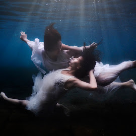Two Angel by Rahmadani Gunawan - People Couples ( #underwater #angel #girl #couple )