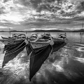 Tied Boats, Port Blair, Andaman 2017 by Manabendra Dey - Landscapes Beaches ( andaman, portblair, boat )