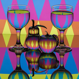 Color Circus by Lisa Hendrix - Artistic Objects Glass ( inversion, glass fruit, orange, reflection, fruit, glass pear, colorful, colors, art, object, yellow, glass apple, pattern, color, blue, apple, artistic, glass, pink, wine glasses, pear )