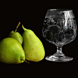 Pears and Jamuns by Prasanta Das - Food & Drink Fruits & Vegetables ( jamuns, green, pears, black )
