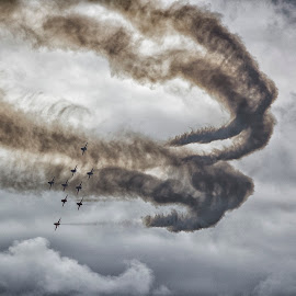 Out of the Smoke by Kelly Murdoch - Transportation Airplanes ( clouds, flight, red arrows, reds, aircraft, planes, airdisplay, air show, formation )