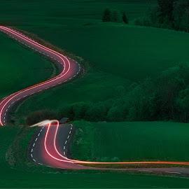 Lines by Thomas Bjørnstad - Landscapes Prairies, Meadows & Fields ( car, field, trail, long exposure, road,  )