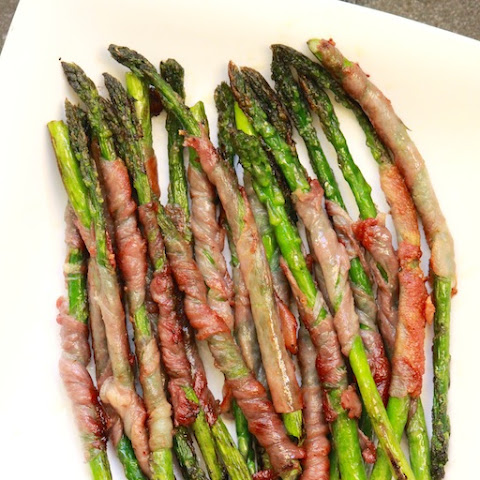 Seared Prosciutto-Wrapped Asparagus w/ a Wild Mushroom White Wine Sauce