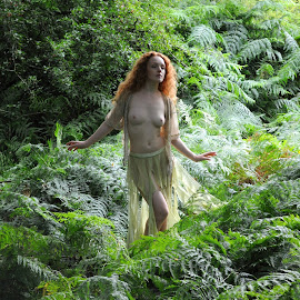 Nereid Among the Ferns by DJ Cockburn - Nudes & Boudoir Artistic Nude ( skirt, natural light, nude, topless, nature, woman, forest, redhead, ivory flame, standing, portrait )