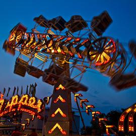 Zipper by Peggy Zinn - City,  Street & Park  Amusement Parks ( the zipper, festival rides, child hood memories, summer time fun, fair rides, festival fun,  )