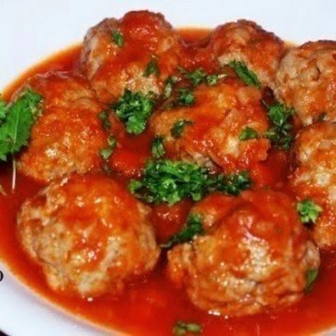 Meatballs with rice and creamy sauce IN THE OVEN