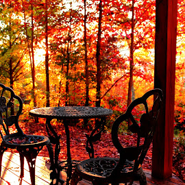 Autumn Morning: An Antique Table waits for morning coffee by Avishek Bhattacharya - Artistic Objects Furniture ( canon, smokey, antique furnitures, gatliburg, t3i, fall foliage, wooden cabin, furniture, morning, porch,  )