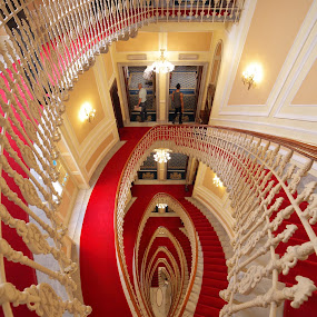 red carpet  staircase  by Alessandra Antonini - Buildings & Architecture Other Interior ( liberty, interior, redcarpet, staircase, hotel, italy )