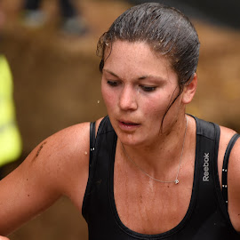 Strong And Concentrated ! by Marco Bertamé - Sports & Fitness Other Sports ( differdange, strong, 2015, woman, lady, eyes closed, strongmanrun, running, luxembourg )