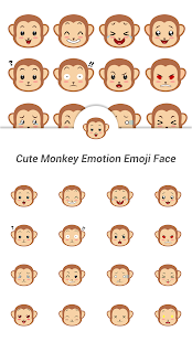 Cute Monkey Emotion Emoji Face - screenshot
