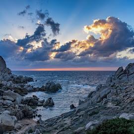 Capo Testa by Maurizio Mameli - Landscapes Waterscapes ( clouds, sky, sardinia, sunset, sea, seascape, landscape, rocks, sun )