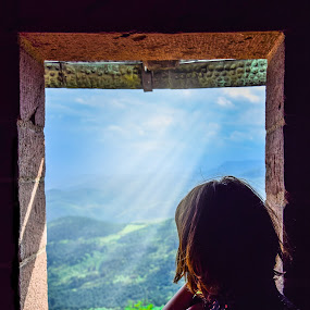View from a Castle by Crinu Topalo - Landscapes Mountains & Hills ( hills, girl, silhouette, shine, castle, travel, view, colours,  )
