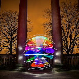 Orb on the Balcony by Lesley Hudspith - Abstract Light Painting ( orb, lightpainting, trees, architecture, colours )