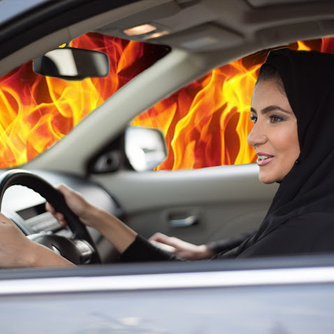 Saudi Woman Accidentally Drives Car Straight into Hell