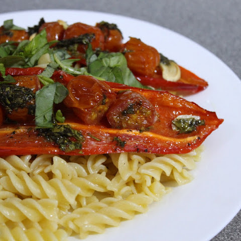 Roasted Red Pepper And Tomato Pasta With Basil Dressing