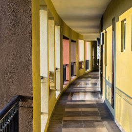 Hallway at Twilight by Richard Michael Lingo - Buildings & Architecture Other Exteriors ( cancun, yucutan, resorts, mexico, architecture )