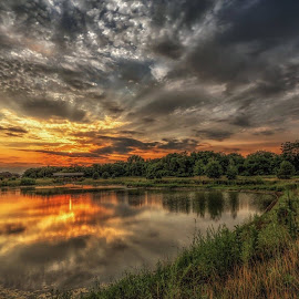 Reflection  by Casey Mitchell - Landscapes Cloud Formations ( clouds, sunset, lake, pond )