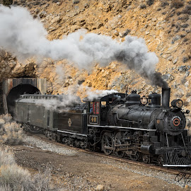 Forty at the Tunnel by Mark Franks - Transportation Trains ( nnry, nevada northern railway, steam train, train, nv )