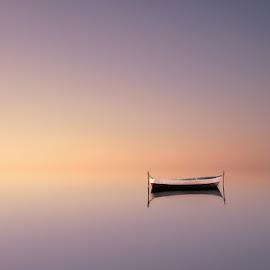 rise by Ash Vain - Landscapes Waterscapes ( water, lake, sunrise, boat, landscape )