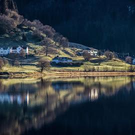 Kalandsvika by Espen Rune Grimseid - Landscapes Waterscapes ( canon, bergen, nature, kalandsvatnet, reflections, lake, landscape, light, norway )