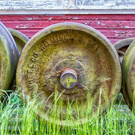 Railroad Wheels by Carol Ward - Transportation Railway Tracks ( east broad top railroad, rockhill, pa, railroad, rust, railroad wheels,  )