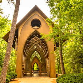 Please Come In by Jennifer  Loper  - Buildings & Architecture Public & Historical ( arkansas, woods, see-through, chapel, trees, cathedral )
