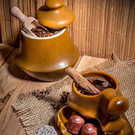 Good morning ! by Ovidiu Sova - Food & Drink Alcohol & Drinks ( chocolate, wood, cinnamon, coffee beans, coffee, coffee cup,  )
