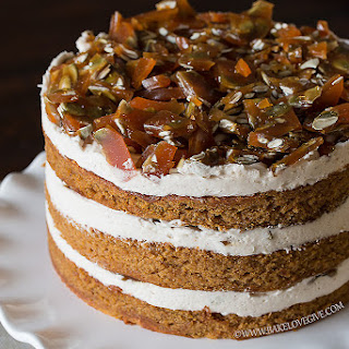PUMPKIN SPICE CAKE WITH CINNAMON BROWN SUGAR CREAM CHEESE FROSTING AND PEPITA BRITTLE