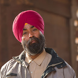 Frank by Richard Duerksen - People Portraits of Men ( sikh, temples, questioning, turban, ruins, portrait, man, qutb, delhi )