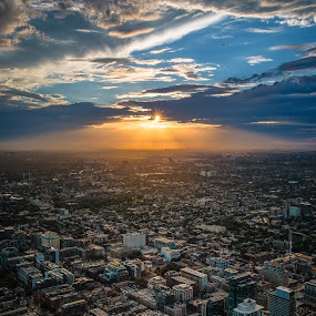 Sunset on Toronto by Éric Senterre - City,  Street & Park  Skylines ( clouds, sunset, toronto, cn tower, cityscape, sun, city )