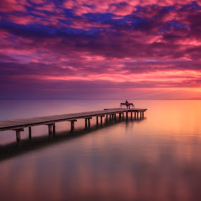 Sunset Lake Neusiedl by Zoltan Duray - Landscapes Waterscapes ( water, purple, weiden am see, lake neusiedl, neusiedl see, people, sun, sky, see, blue, sunset, cloud, pier, sunrise, sunrise and sunsets, austria, , garyfonglandscapes, holiday photo contest, photocontest, long, exposure, daytime, edition, challenge, Chair, Chairs, Sitting, the mood factory, mood, lighting, sassy, pink, colored, colorful, scenic, artificial, lights, scents, senses, hot pink, confident, fun, mood factory  )