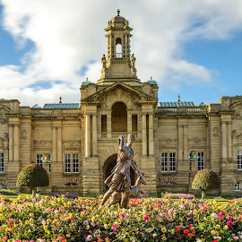 Cartwright Hall by Darrell Evans - Buildings & Architecture Public & Historical ( plant, picturesque, building, park, grass, lister park, flora, cartright hall, stone, recreation, people, statue, flowers & plants, red, bradford, woman, outdoor )