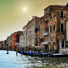 A Canal Ride by Michael Rey - City,  Street & Park  Vistas ( canals, cityscape, venezia, gondolas, italy, architecture )