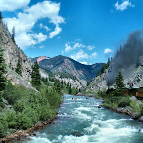 Durango and Silverton Narrow Guage Railroad by Lynette Phipps - Landscapes Mountains & Hills