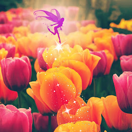 Tulip Fairy by Jenny Hammer - Digital Art Things ( fantasy, digital art, art, fairy, tulips, flowers, garden, photography )